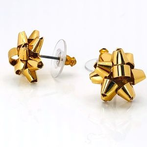 New Kate Spade Gold Bourgeois Bow Stud Earrings